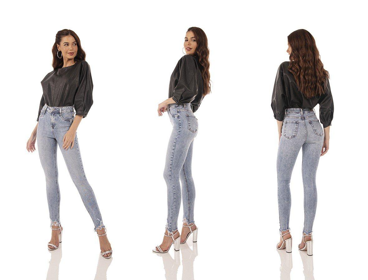 dz3729 re calca jeans feminina skinny media cigarrete barra irregular denim zero tripla