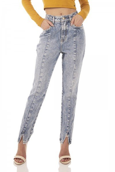 dz3739 alg calca jeans feminina mom recorte frontal denim zero frente prox