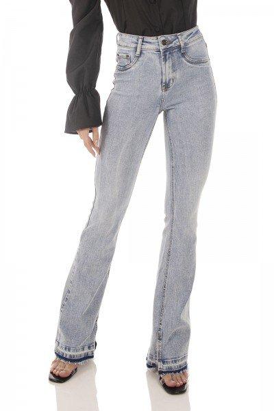 dz3744 re calca jeans feminina flare media barra dupla denim zero frente prox