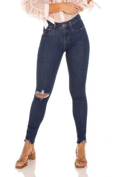dz3477 calca jeans feminina skinny media cigarrete rasgo joelho denim zero frente prox