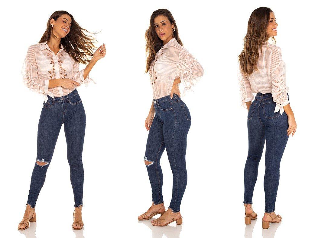 dz3477 calca jeans feminina skinny media cigarrete rasgo joelho denim zero tripla