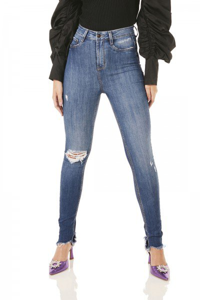 dz3775 com calca jeans feminina skinny hot pants rasgo joelho denim zero frente prox