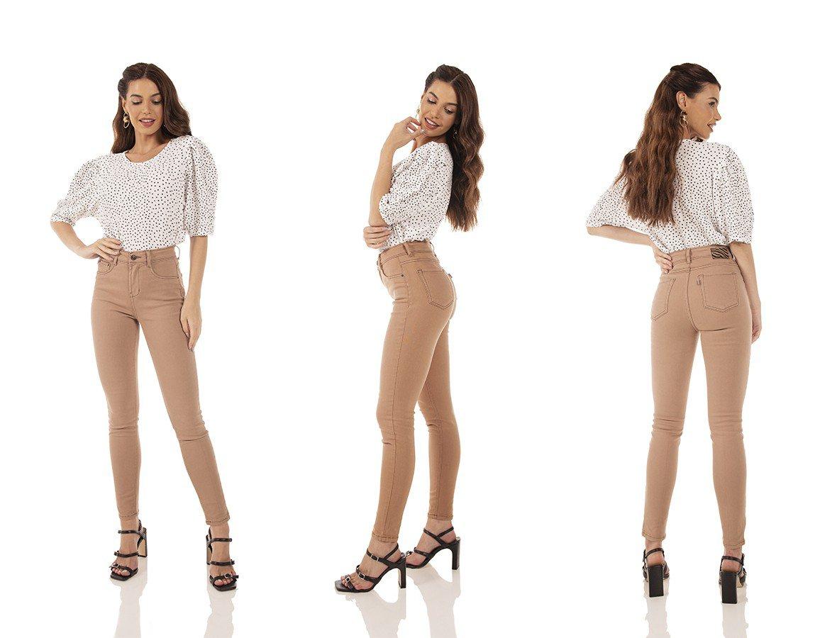 dz3728 re calca jeans feminina skinny media cigarrete colorida cappuccino denim zero tripla