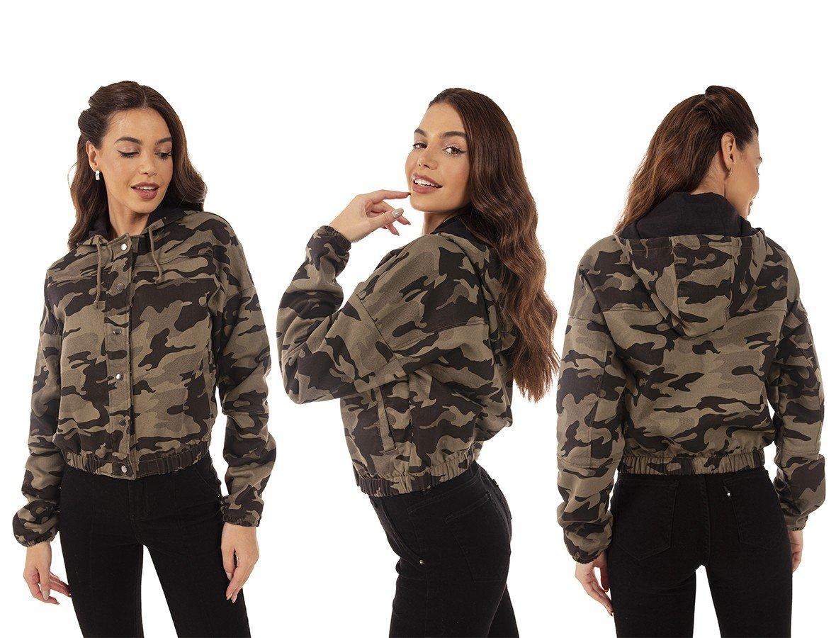 dz9131 com jaqueta jeans feminina bomber camuflada denim zero tripla