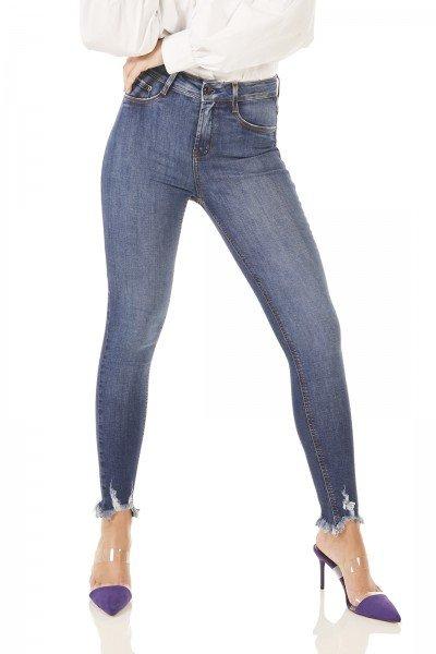 dz3774 re calca jeans feminina skinny media cigarrete barra desfiada denim zero frente prox