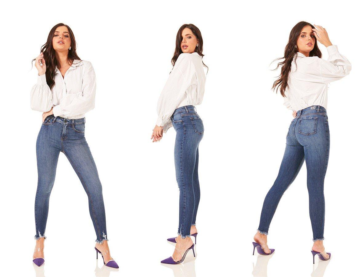 dz3774 re calca jeans feminina skinny media cigarrete barra desfiada denim zero tripla