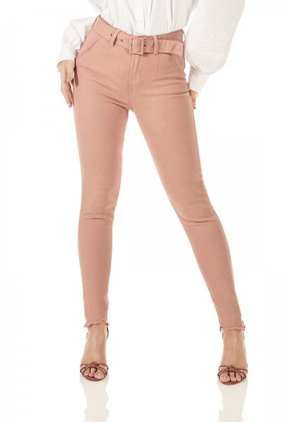 dz3766 re calca jeans feminina skinny media cigarrete colorida com cinto old roset denim zero frente prox
