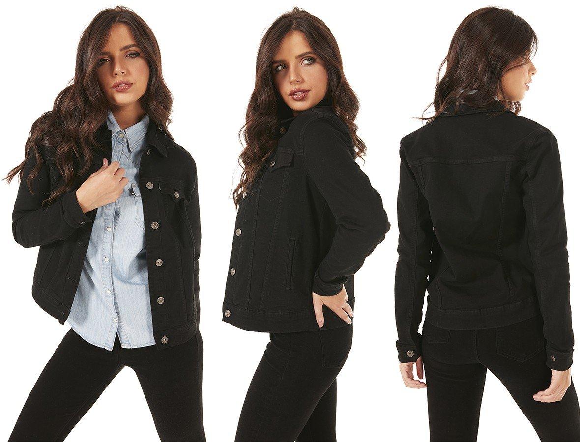 dz9142 com jaqueta jeans feminina elastano preto denim zero tripla