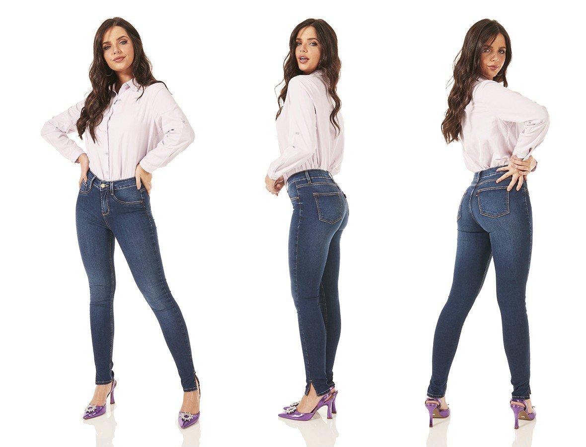 dz3764 re calca jeans feminina skinny media fenda lateral denim zero tripla