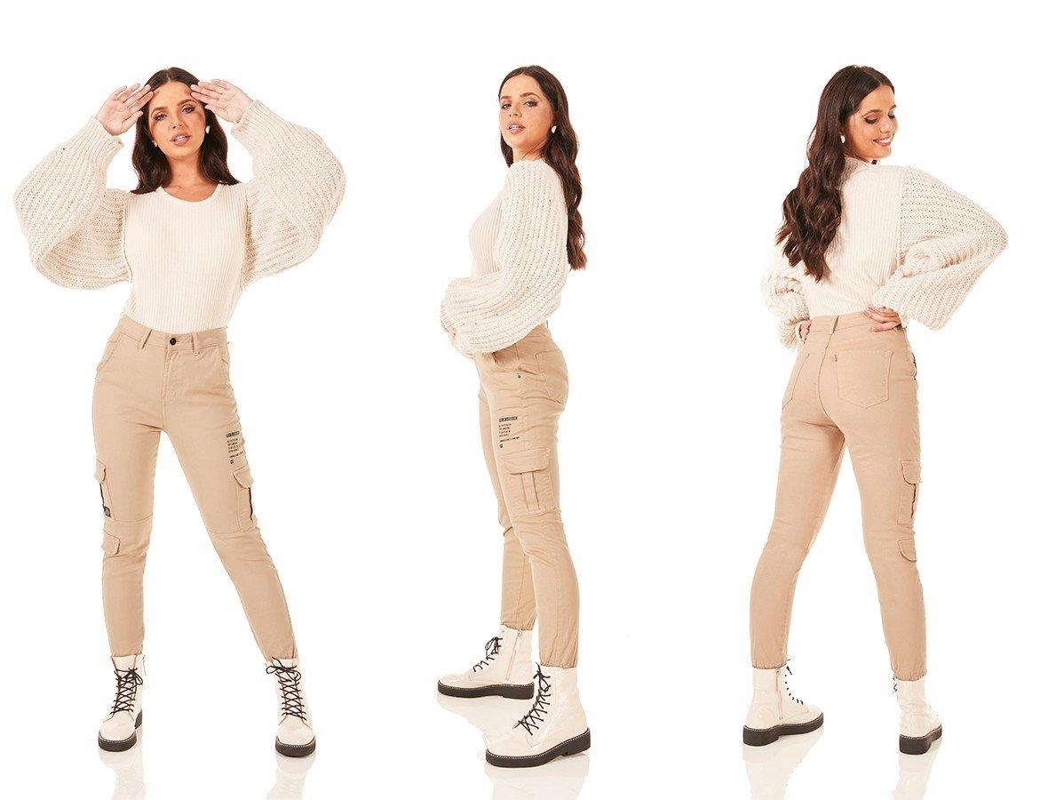 dz3788 com calca jeans feminina mom fit bolsos utilitarios colorida po de arroz denim zero tripla
