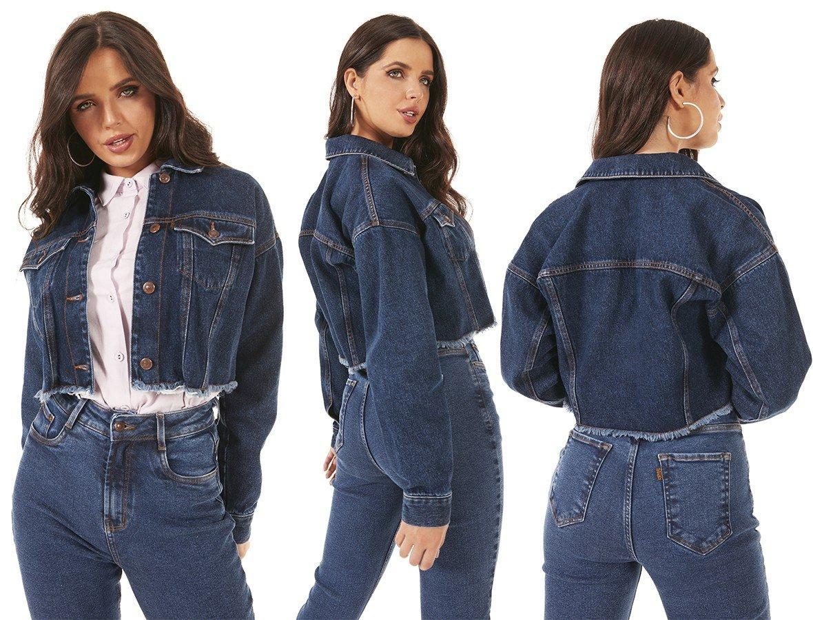 dz9138 alg jaqueta jeans feminina retro cropped barra desfiada denim zero tripla