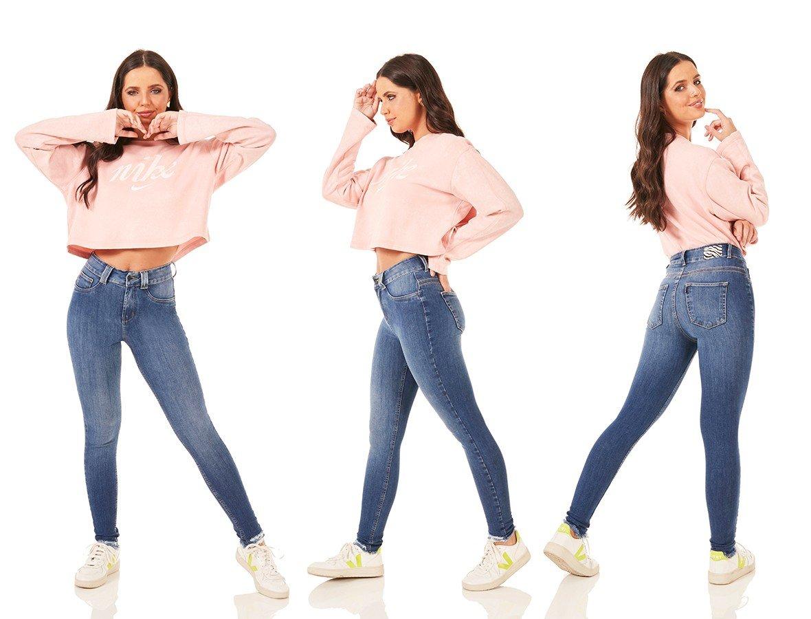dz3792 ts calca jeans feminina skinny media cigarrete barra desfiada denim zero tripla