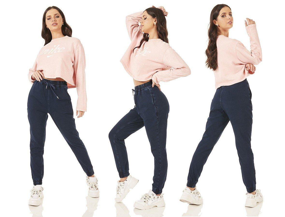 dz3789 com calca jeans feminina jogger escura denim zero tripla