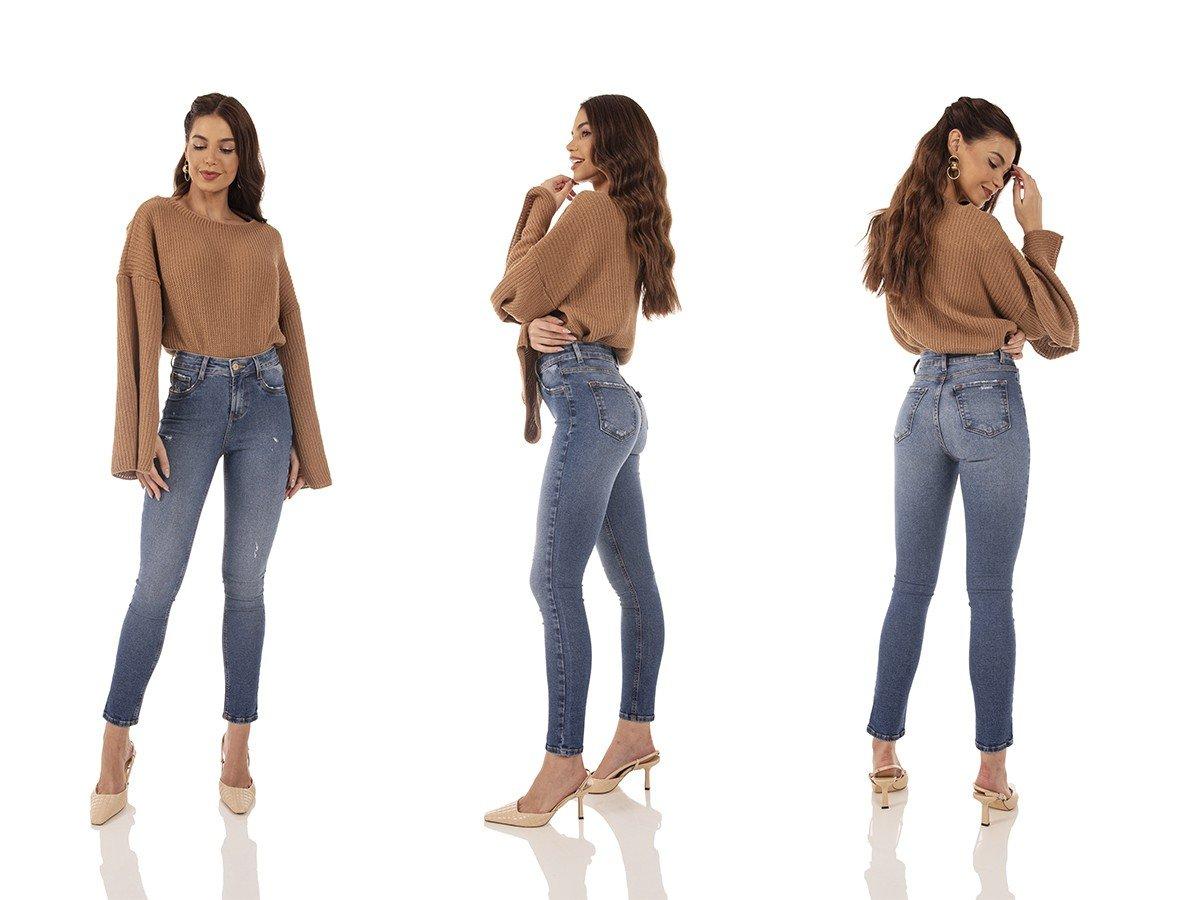 dz3730 re calca jeans feminina skinny media cigarrete com puidos denim zero tripla