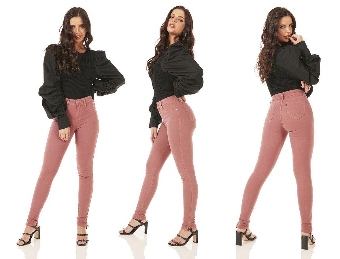 dz3756 re calca jeans feminina skinny media colorida vintage brown denim zero trio
