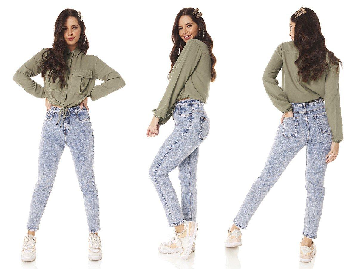 dz3817 com calca jeans feminina mom fit estampa cos denim zero tripla
