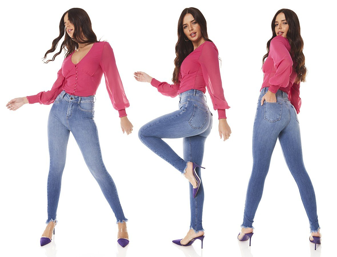 dz3810 ts calca jeans feminina skinny media cigarrete barra desfiada denim zero tripla