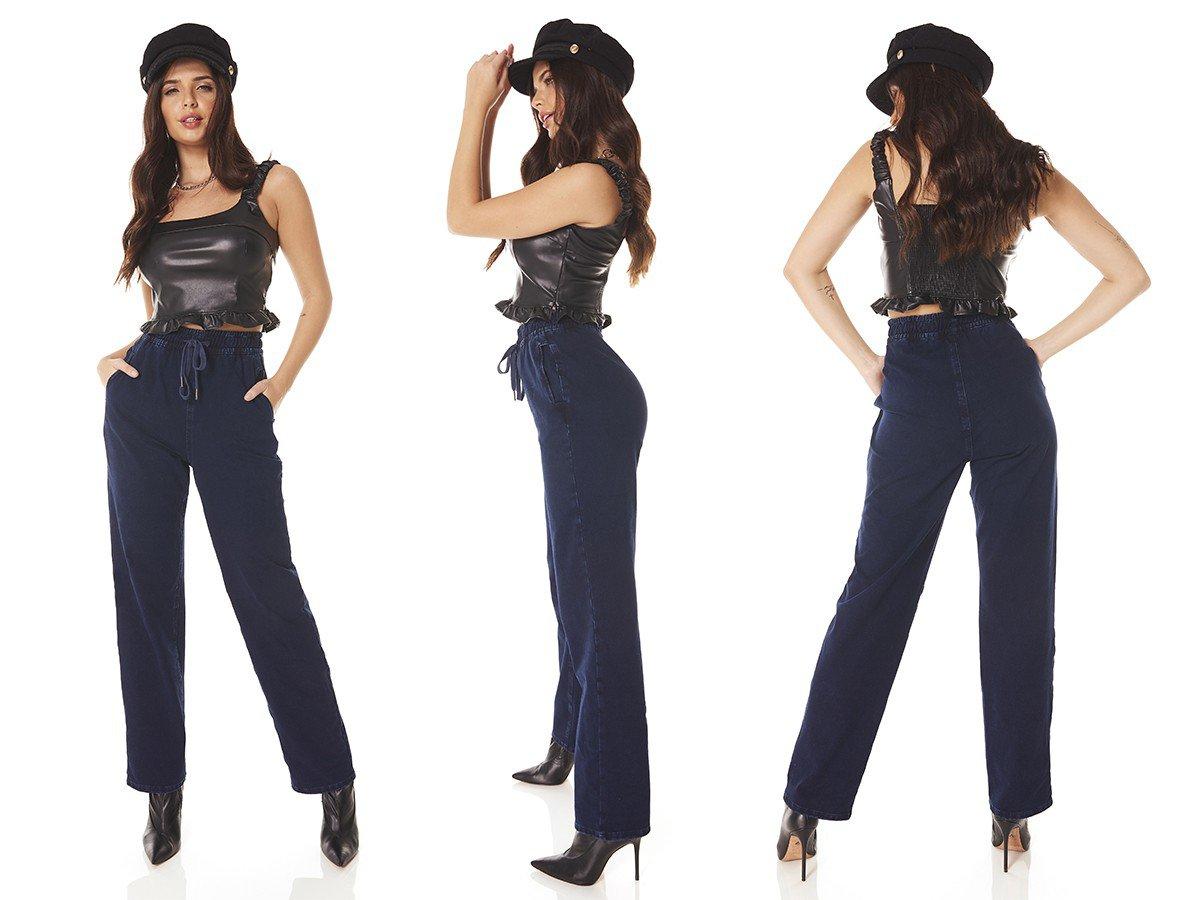dz3819 com calca jeans feminina dad pants fit escura denim zero tripla