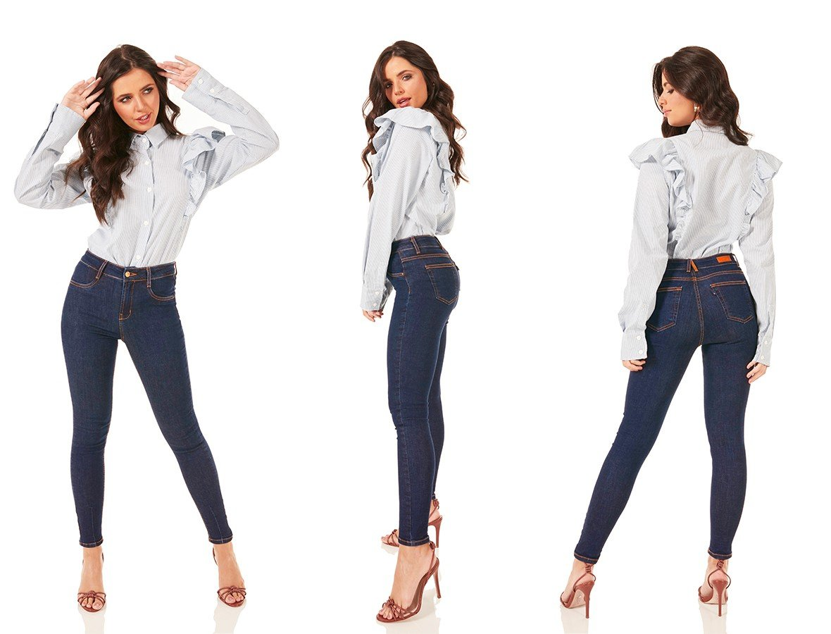 dz3767 com calca jeans feminina skinny media cigarrete detalhe barra denim zero tripla