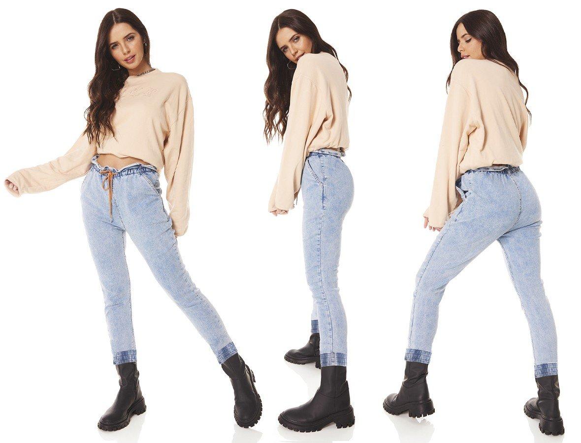 dz3715 com calca jeans feminina jogger com cordao funcional denim zero tripla