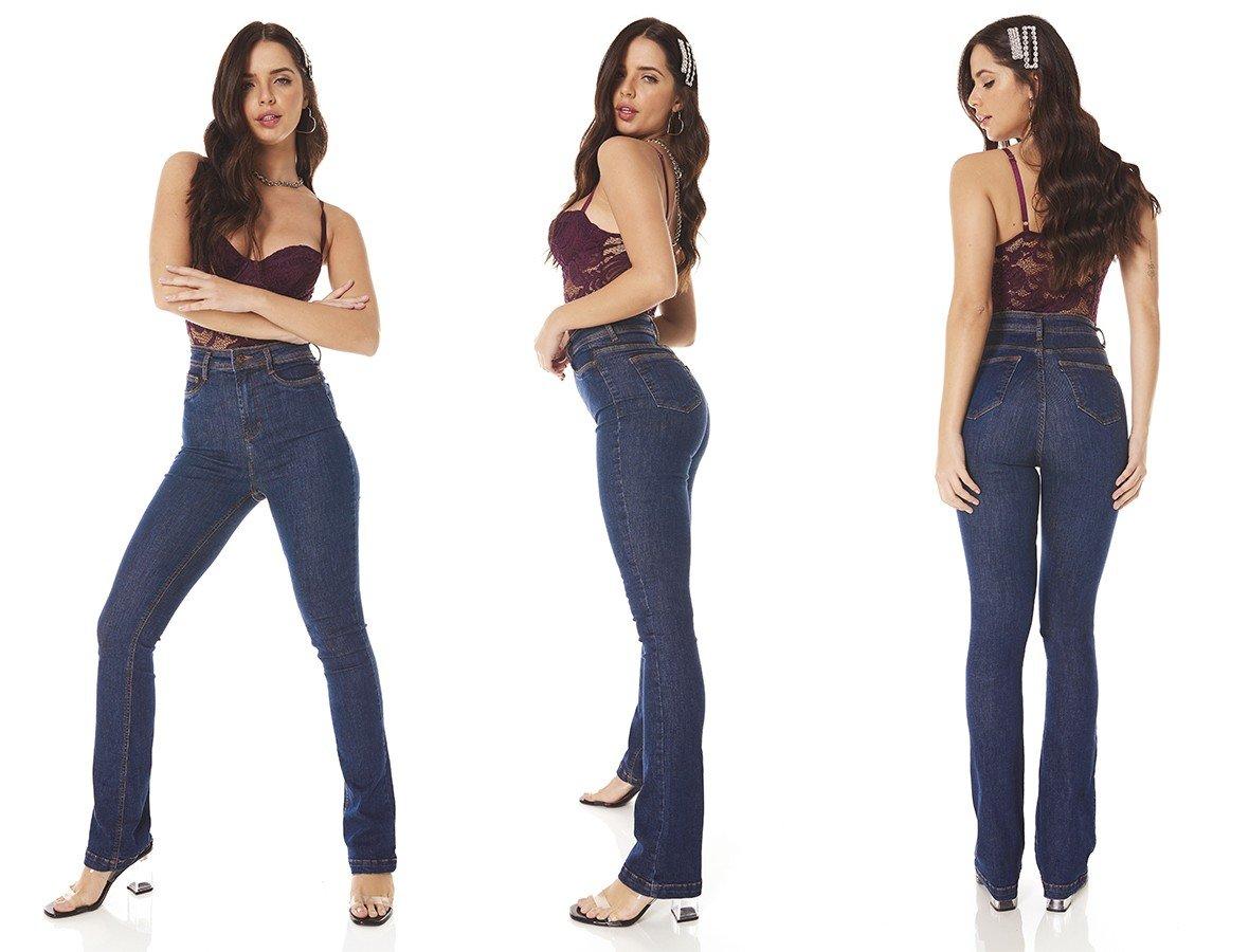 dz3815 re calca jeans feminina boot cut hot pants escura denim zero tripla