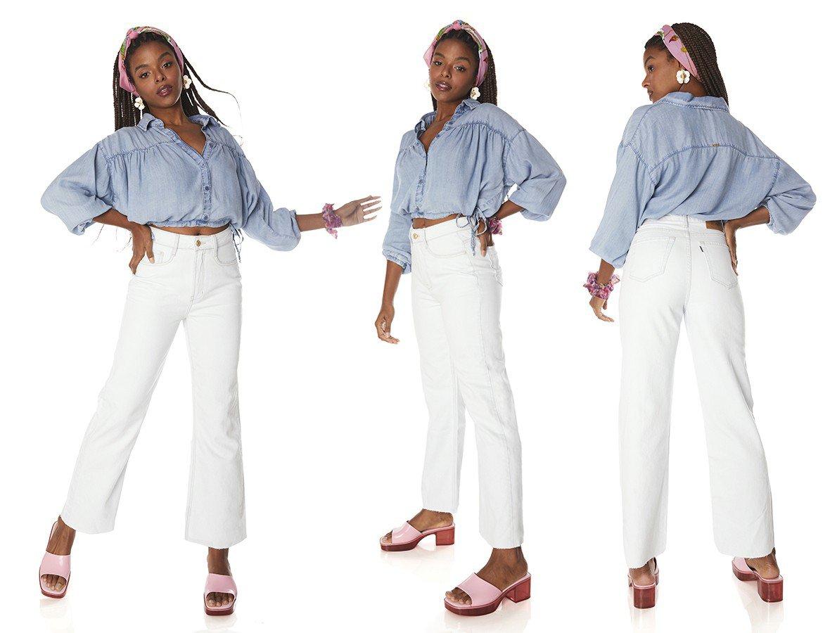 dz3837 alg calca jeans feminina wide leg max barra corte a fio denim zero tripla