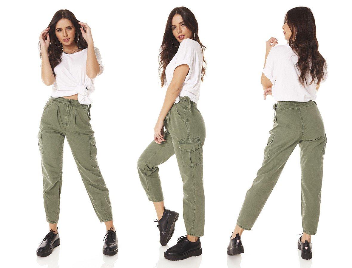 dz3816 alg calca jeans feminina balloon colorida verde militar denim zero tripla