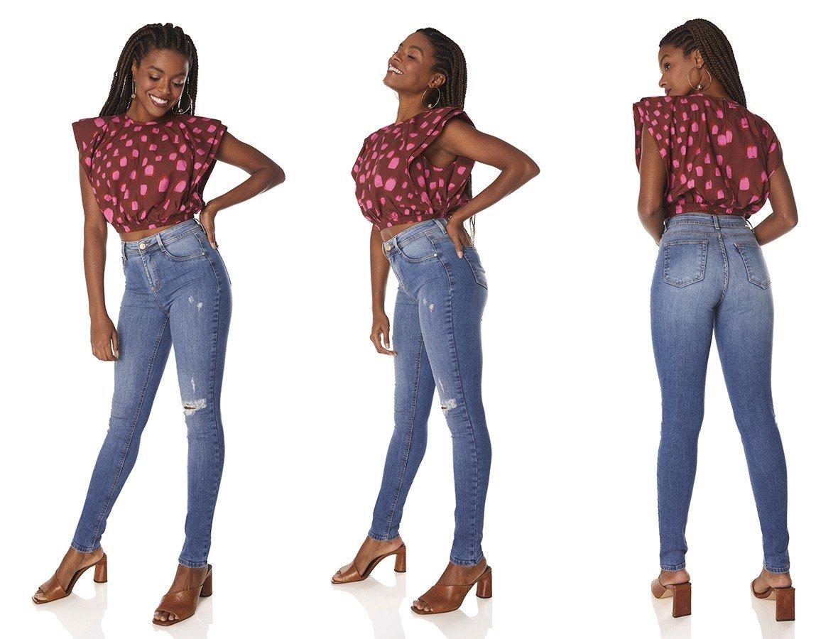 dz3829 re calca jeans feminina skinny media com puidos denim zero tripla