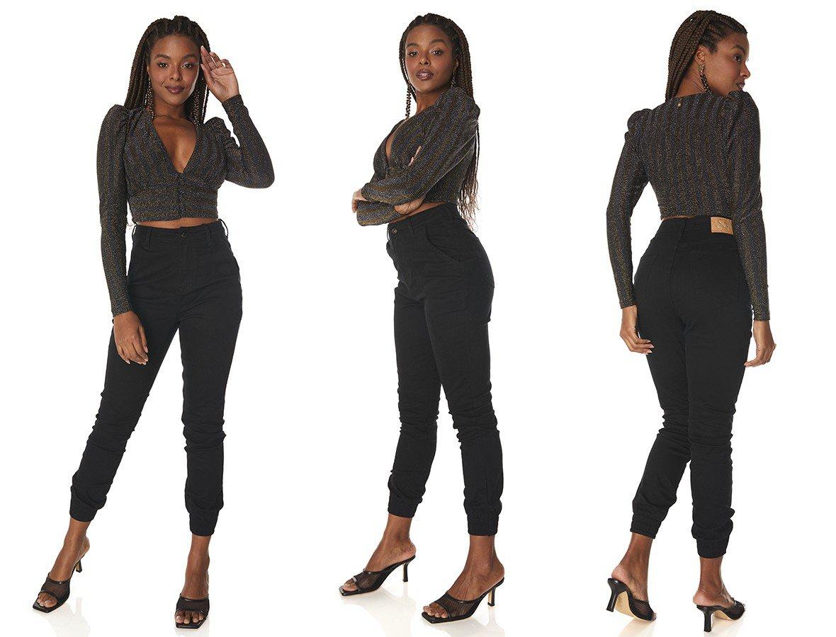 dz3838 com calca jeans feminina mom fit bolsos faca preto denim zero tripla