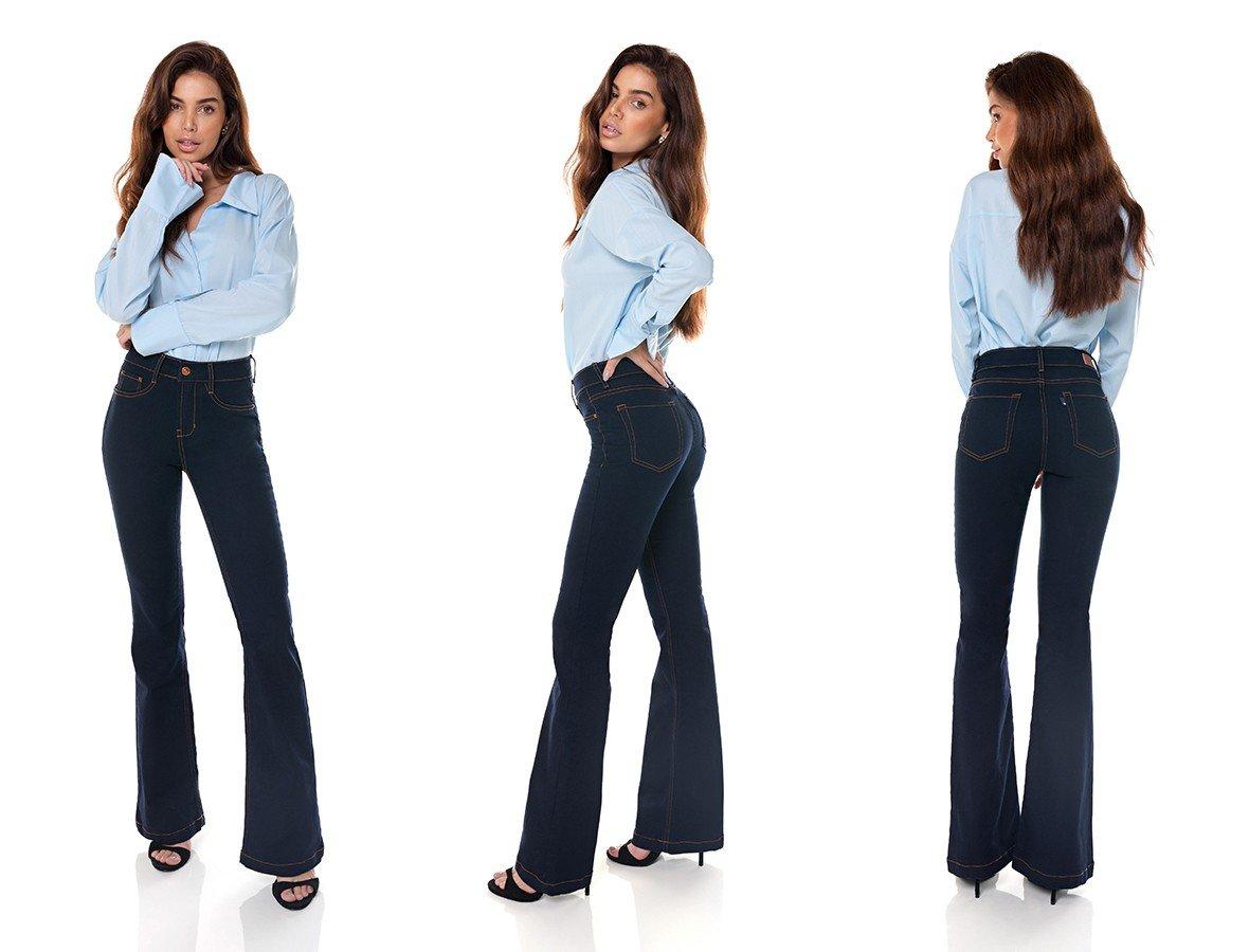 dz3707 com calca jeans feminina flare media escura denim zero tripla