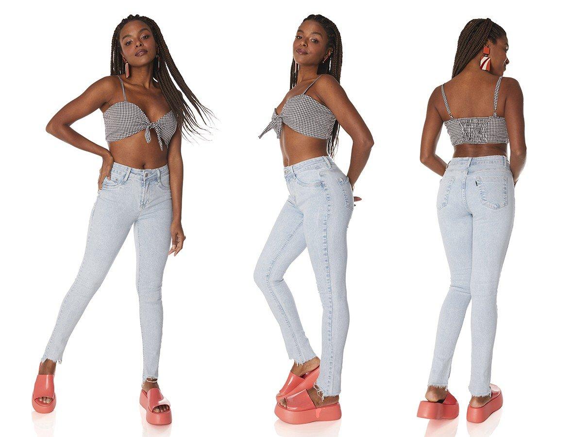 dz3828 com calca jeans feminina skinny media barra irregular denim zero tripla