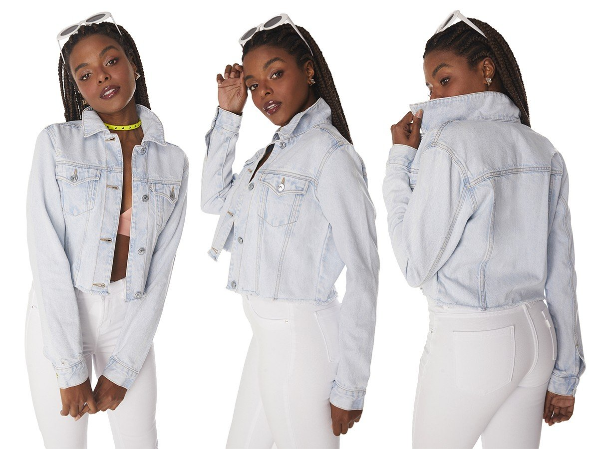 dz9143 alg jaqueta jeans feminina cropped clarinha denim zero tripla