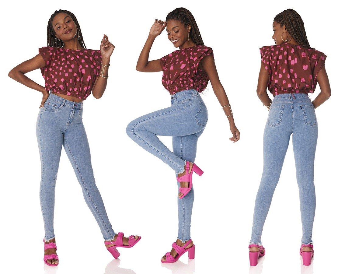 dz3827 ts calca jeans feminina skinny media barra irregular denim zero tripla