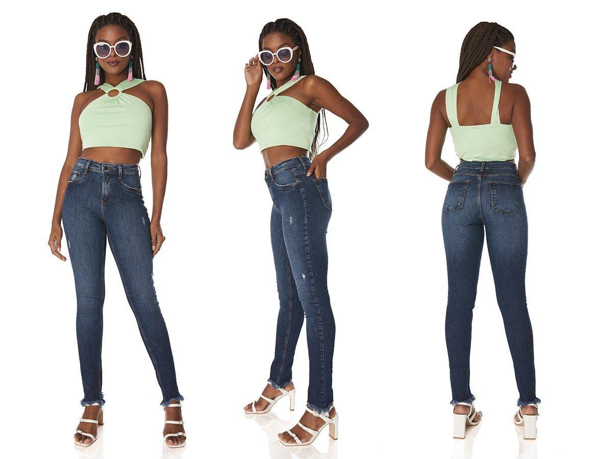 dz3761 re calca jeans feminina skinny media com puidos denim zero tripla