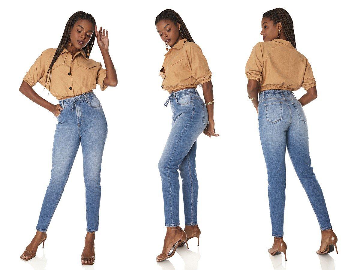dz3839 com calca jeans feminina mom fit com cordao funcional denim zero tripla