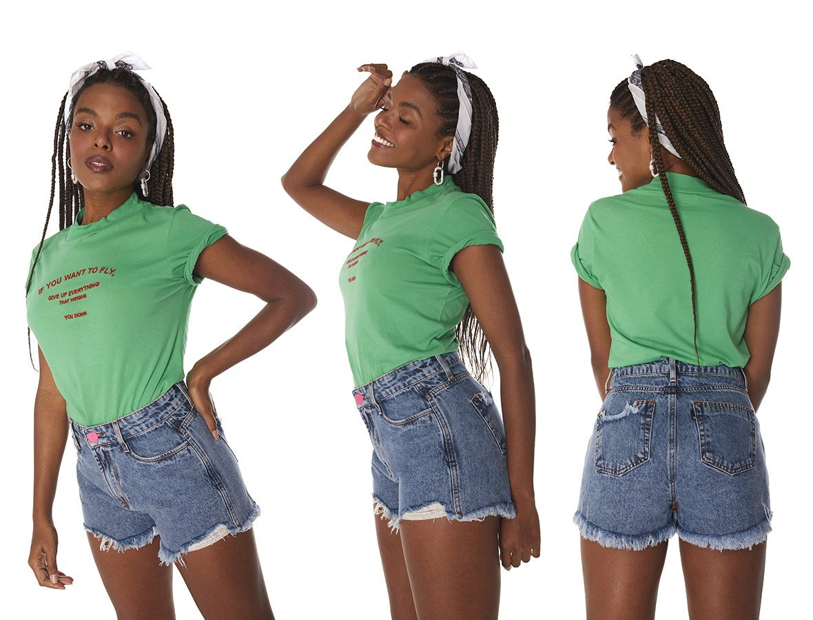 dz6481 alg shorts jeans feminino setentinha barra desfiada denim zero tripla