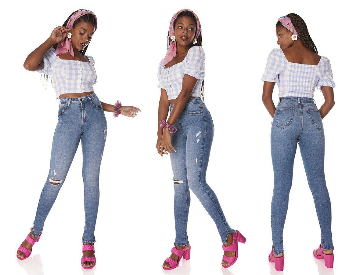 dz3791 re calca jeans feminina skinny media fenda lateral denim zero tripla