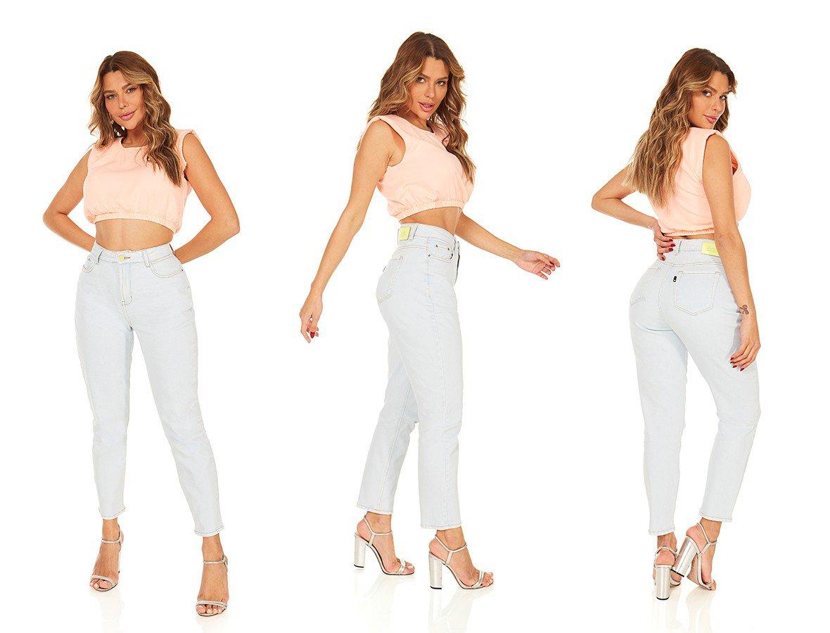 dz3870 com calca jeans feminina mom fit clarinha denim zero trio