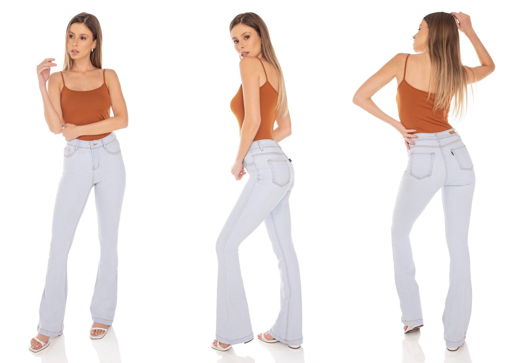 dz3413 calca jeans feminina flare media clarinha denim zero tripla