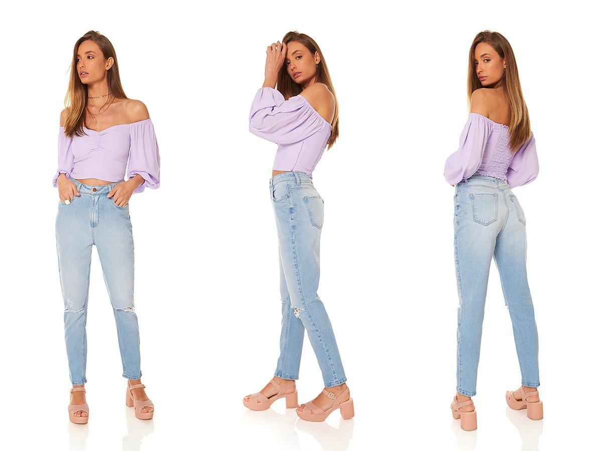 dz3872 com calca jeans feminina mom fit com rasgo denim zero trio