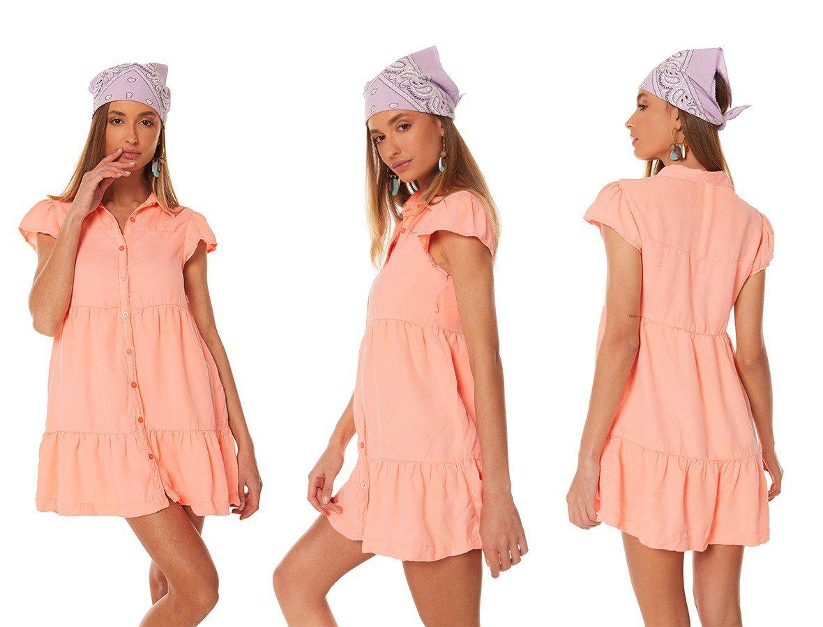 dz12090 vestido jeans feminino curto com babado laranja neon pastel denim zero trio