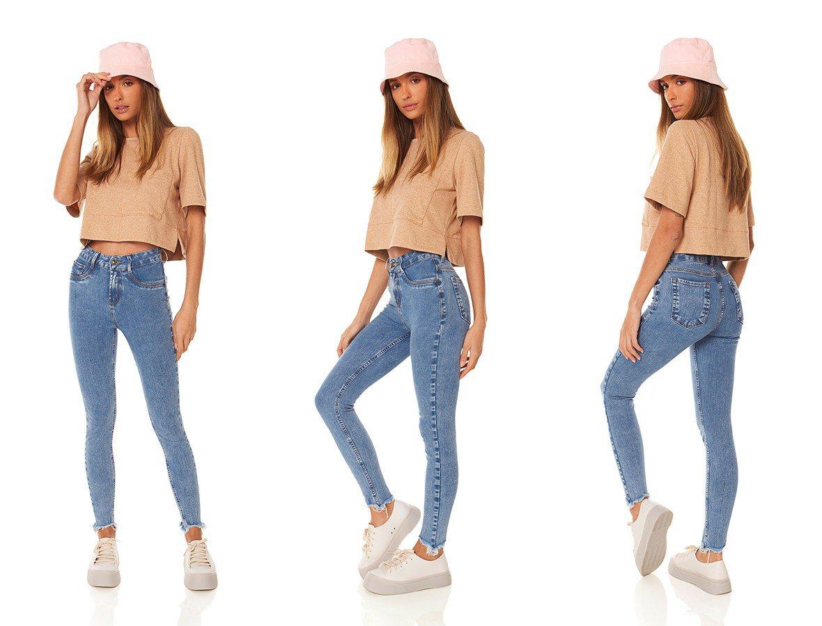 dz3862 ts calca jeans feminina skinny media cigarrete barra irregular denim zero trio