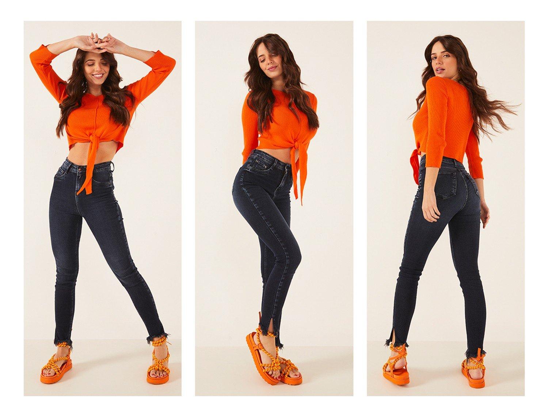 dz3886 com calca jeans feminina skinny hot pants cigarrete com abertura na barra preta denim zero trio crop