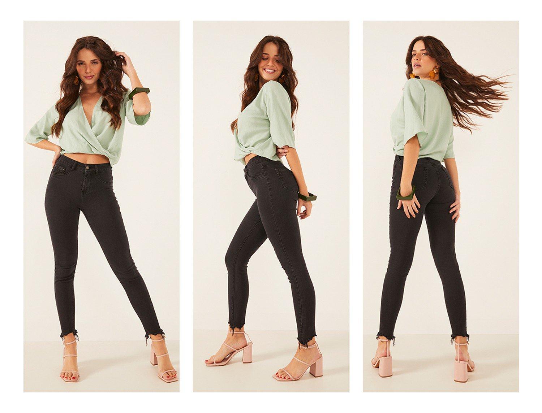 dz3803 re calca jeans feminina skinny media cigarrete com barra irregular denim zero trio crop