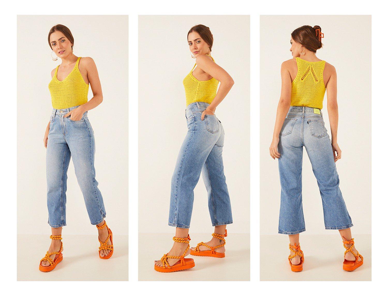 dz3899 alg calca jeans feminina wide leg com abertura na barra denim zero trio crop