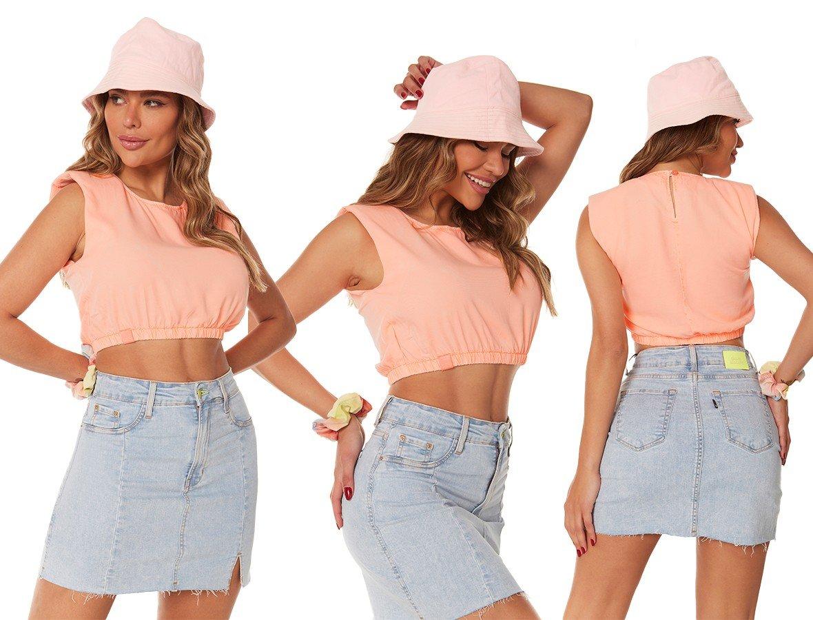 dz11160 camisa jeans feminina cropped muscle tee colorida laranja neon pastel denim zero trio