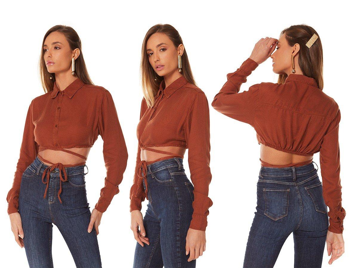dz11161 alg camisa jeans feminina cropped colorida raposa denim zero trio