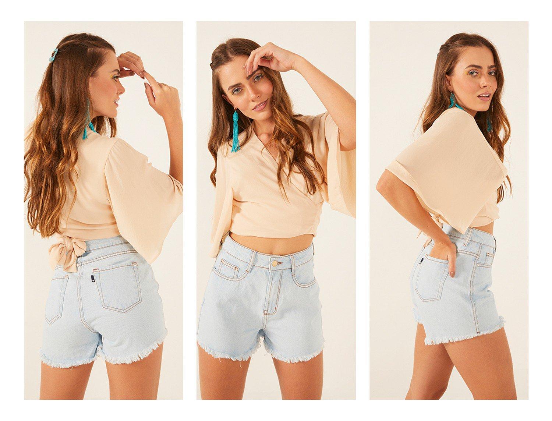 dz6501 alg shorts jeans feminino setentinha com barra desfiada denim zero lado prox trio crop