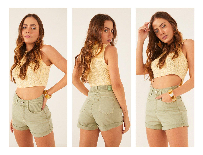 dz6521 com shorts jeans feminino setentinha fit com detalhe em cotele vintage green denim zero frente prox trio crop