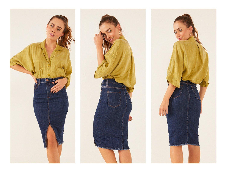 dz7217 com saia jeans feminina lapis com abertura frontal denim zero frente 2 trio crop